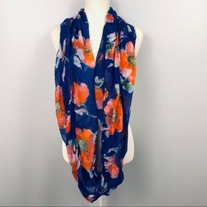 Blue and Orange Floral Infinity Scarf.